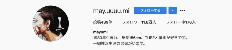 人気インスタグラマーmayumiさん